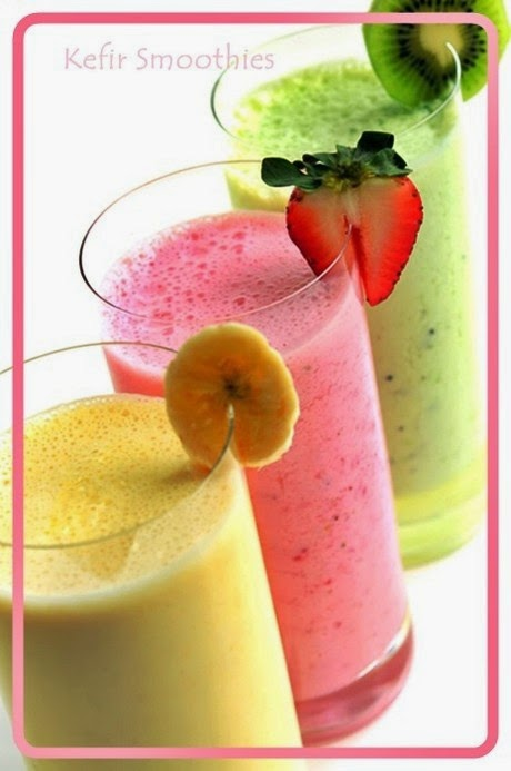 Kefir Smoothie Makes 2 Servings Ingredients: Frozen Or Fresh Fruit (1 Cup) Use Mangoes, Banana, Peaches, Blueberries, Strawberries, Kiwi  Or Oranges. Kefir ? 1cup (8 Oz.) Honey Or Raw Sugar ? 2 Tsp. Flax Oil ? 2 Tsp. (Optional) Whey Protein Powder ? 2 Tsp. Method: Blend All Ingredients Together Till Smooth